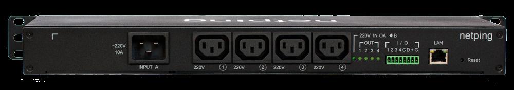 Вид сзади IP PDU NetPing 8PWR-220 v3SMS