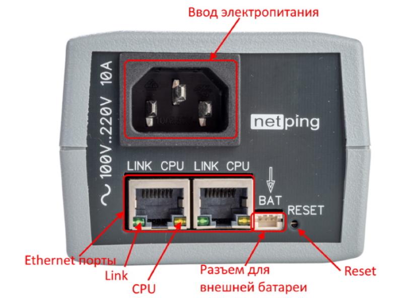 NetPing 2PWR-220 v12 ETH передняя панель