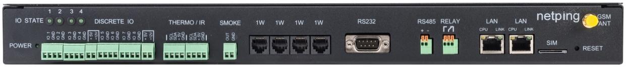 Устройство мониторинга микроклимата серверной комнаты UniPing server solution v3SMS - передняя панель