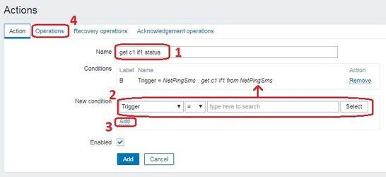 Zabbix настройка Action на прием trap сообщения