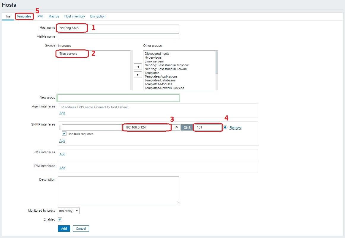 Zabbix добавление NetPing SMS в роли SNMP TRAP сервера