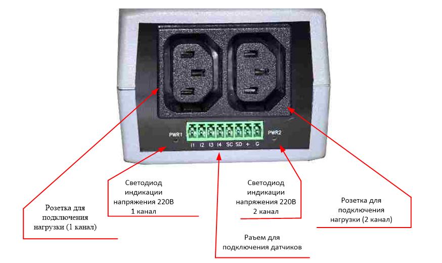 NetPing 2PWR-220 v2SMS - вид сзади