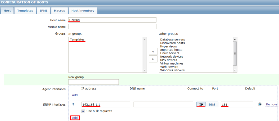 Добавление устройства UniPing v3 в Zabbix - snmp agent