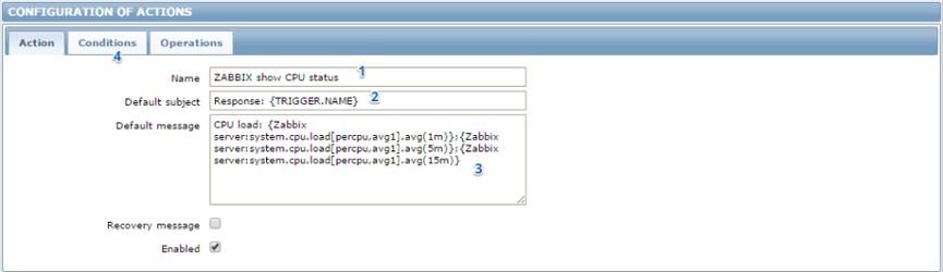 Создание действия в Zabbix